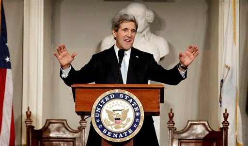© U.S. Sen. John Kerry acknowledges applause while addressing constituents at Faneuil Hall in Boston Thursday, Jan. 31, 2013.