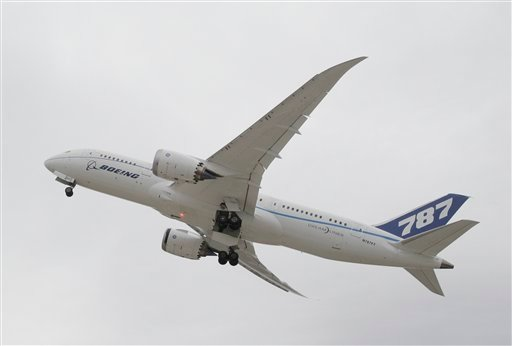  In this Feb. 3, 2011, file photo, Boeings' new 787 Dreamliner takes off from Houston's Bush Intercontinental Airport in Houston.