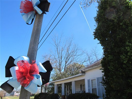 Ribbons adorn a utility pole across from an elementary school in Midland City, Ala., on Sunday, Feb. 3, 2013. (AP Photo/Bruce Smith)