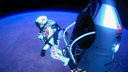 FILE - A Sunday, Oct. 14, 2012 file image provided by Red Bull Stratos shows pilot Felix Baumgartner of Austria as he jumps out of the capsule during the final manned flight for Red Bull Stratos. (AP Photo/Red Bull Stratos, File)