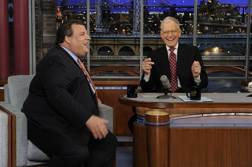 "© In this photo released by CBS Broadcasting, New Jersey Gov. Chris Christie, left, and late night host David Letterman, right, react with laughter during the Governor's first visit to CBS' ""Late Show with David Letterman,"" on Monday, Feb. 4, 2013 in NY."