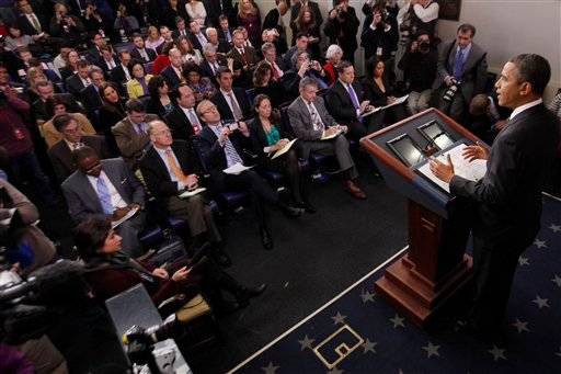 President Barack Obama speaks in the James Brady Press Briefing Room of the White House in Washington, Tuesday, Feb. 5, 2013. (AP Photo/Charles Dharapak)