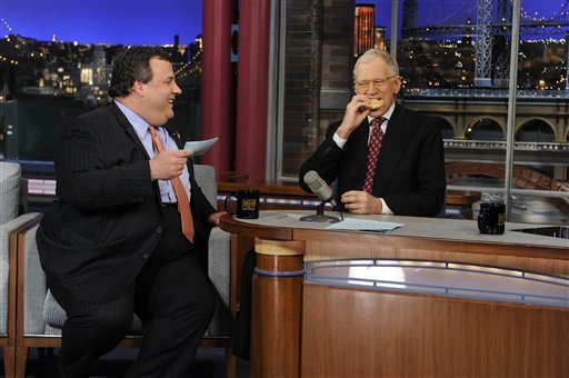 "In this photo released by CBS Broadcasting, New Jersey Gov. Chris Christie, left, chats with David Letterman, right, during his first visit to CBS' ""Late Show with David Letterman,"" on Monday, Feb. 4, 2013 in New York. (AP Photo/CBS Broadcasting)"