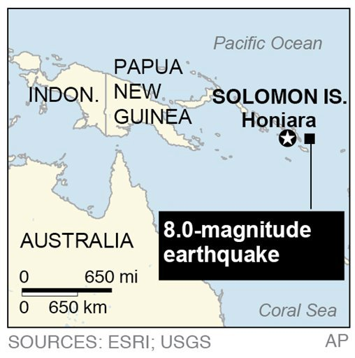 Map locates an 8.0-magnitude earthquake that generated a 0.9 meter (3 feet) tsunami in the Solomon Islands. Copyright 2013, The Associated Press
