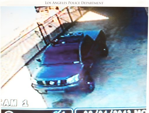 © This undated photo released by the Los Angeles Police Department shows a security camera video grab of the vehicle believed to be driven by suspect Christopher Dorner, a former Los Angeles officer.  (AP)