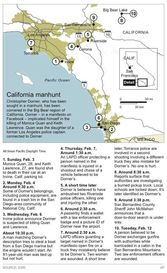 Map locates key places in the hunt for Christopher Dorner