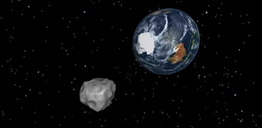 © This image provided by NASA/JPL-Caltech shows a simulation of asteroid 2012 DA14 approaching from the south as it passes through the Earth-moon system on Feb. 15, 2013.