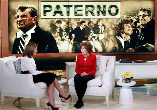 This Feb. 6, 2013 photo released by ABC shows Sue Paterno, widow of legendary football coach Joe Paterno, right, with Katie Couric for an exclusive interview for the &quot;Katie&quot; show in New York.