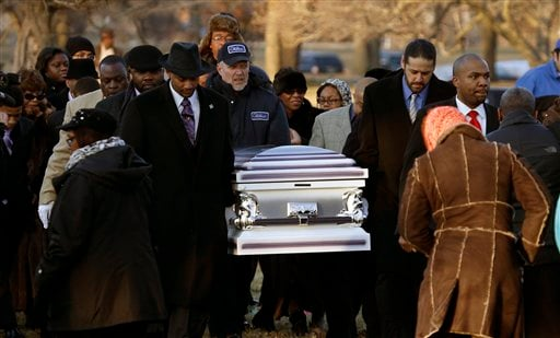 © The remains of Hadiya Pendleton are taken to her final resting place at the Cedar Park Cemetery Saturday, Feb. 9, 2013, in Calumet Park, Ill.