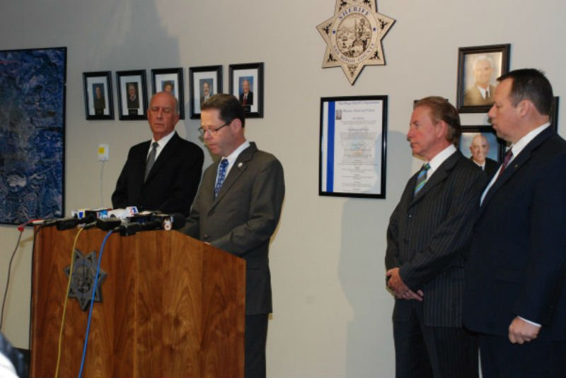  A news conference was held Sunday regarding the e-mail threat against Twin Peaks Middle School. Photo credit San Diego Sheriff Twitter account: @SDSheriff.