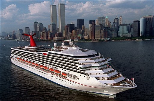 This July 27, 1999 handout file photo provided by Carnival Cruise Lines shows the MS Carnival Triumph departing New York harbor, on her inaugural voyage.