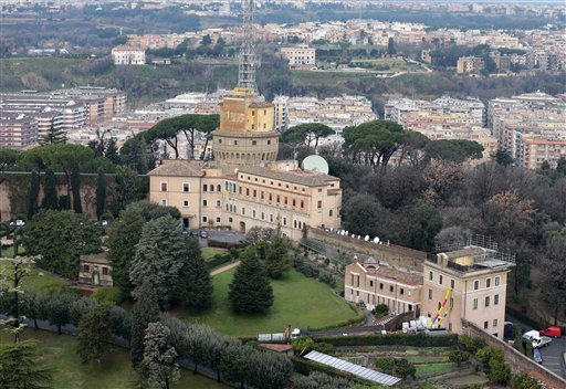 © A view of the Mater Ecclesiae Monastery, right, next to the Tower of San Giovanni, inside the Vatican State where Pope Benedict XVI is expected to live after he resigns, on Tuesday, Feb. 12, 2013.