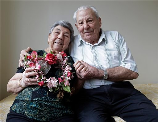 Madalena, 88, and Fortunato Corso, 89, a Bensonhurst couple married 72 years who met in Calabria, Italy, and married on Feb. 4, 1941, pose for a photograph at their home in New York, Wednesday, Feb. 13, 2013. (AP)