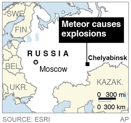  Map locates Chelyabinsk, Russia, where a meteor caused explosions in the area.