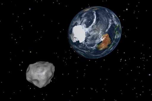 © This image provided by NASA/JPL-Caltech shows a simulation of asteroid 2012 DA14 approaching from the south as it passes through the Earth-moon system on Friday, Feb. 15, 2013.