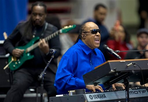 ©  In this Nov. 4, 2012 file photo, Stevie Wonder performs at a campaign event for President Barack Obama at the Fifth Third Arena on the University of Cincinnati campus in Cincinnati.