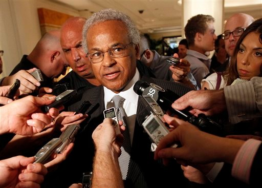 © In this June 30, 2011, file photo, NBA Players Union chief Billy Hunter speaks to reporters after a meeting with the NBA in New York.