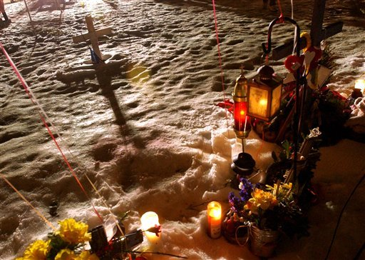 ©  This Feb. 20, 2004, file photo, shows a makeshift memorial at the former site of The Station nightclub, marking the one-year anniversary of a fire that killed 100 people at the club in West Warwick, R.I.