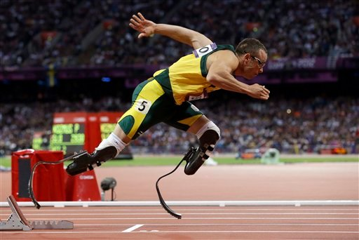 © In this Aug. 5, 2012 file photo, South Africa's Oscar Pistorius starts in the men's 400-meter semifinal during the athletics in the Olympic Stadium at the 2012 Summer Olympics in London.