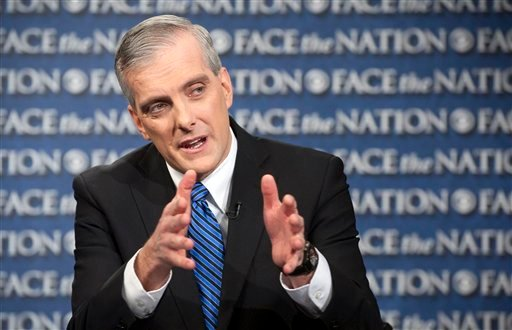 "In this Sunday, Feb. 17, 2013, file photo provided by CBS News new White House Chief or Staff Denis McDonough speaks on CBS's ""Face the Nation"" in Washington. (AP)"