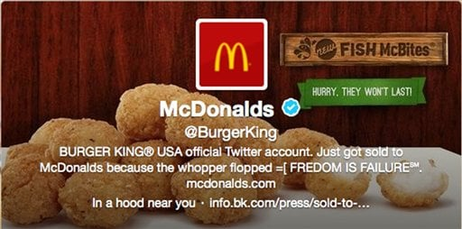 © This frame grab taken Monday, Feb. 18, 2013, shows what appears to be Burger King's Twitter account after it was apparently hacked.