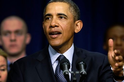 President Barack Obama speaks about the sequester, as he stands with emergency responders, a group of workers the White House says could be affected if state and local governments lose federal money as a result of budget cuts, Tuesday, Feb. 19, 2013. (AP)