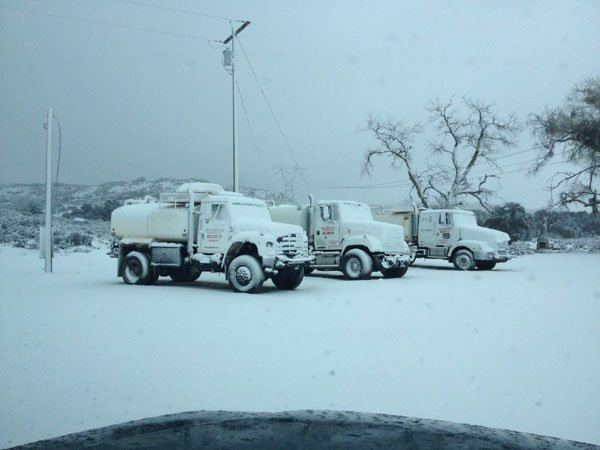 Viewer submitted photo of water trucks in Boulevard around 8 a.m. February, 20, 2013.