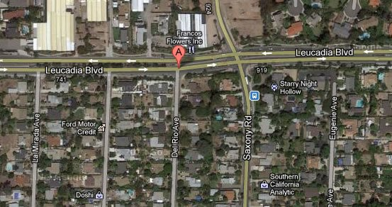 This Google Maps image shows the 700 block of Del Rio Avenue near Leucadia Boulevard in Leucadia.