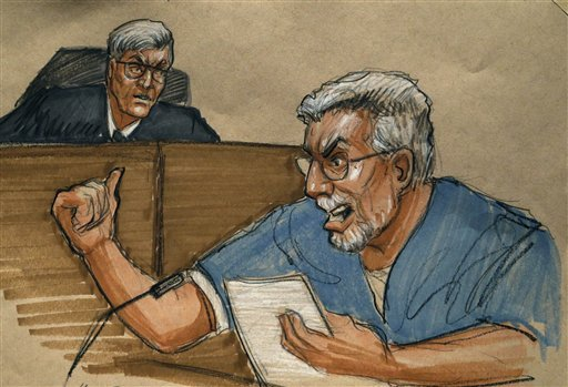 © In this courtroom sketch Drew Peterson, right, address the court and Judge Edward Burmila during Peterson's sentencing at the Will County Courthouse for the 2004 murder of his third wife Kathleen Savio Thursday, Feb. 21, 2013, in Joliet, Ill.