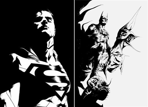 This black and white combo image of two sketches released by DC Entertainment shows an image of Superman, left, and Batman. (AP)