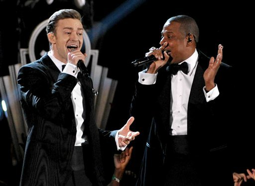 © This Feb. 10, 2013 file photo shows recording artists Just Timberlake, left, and Jay-Z performing at the 55th annual Grammy Awards in Los Angeles.