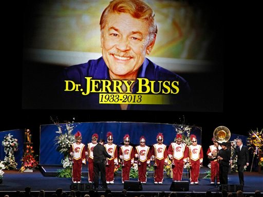 "© The Southern California marching band prepares to play ""Amazing Grace"" during a memorial service for Jerry Buss, the late Los Angeles Lakers owner who died Monday from cancer complications, Thursday, Feb. 21, 2013, in Los Angeles."