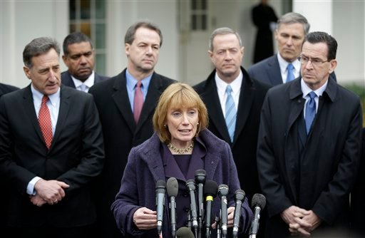 © New Hampshire Gov. Maggie Hassan, center, accompanied by fellow members of the Democratic Governors Associations, speaks outside the White House in Washington, Friday, Feb. 22, 2013.