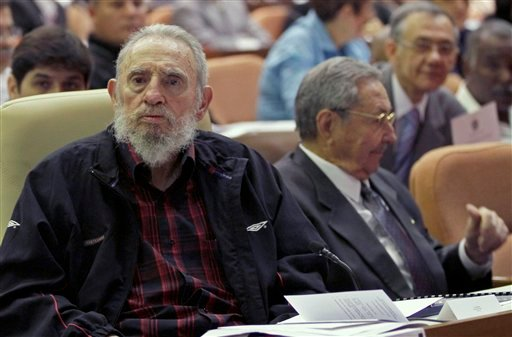  Cuba's leader Fidel Castro and his brother Cuba's President Raul Castro attend the opening session of the National Assemby in Havana, Cuba, Sunday, Feb. 24, 2012.