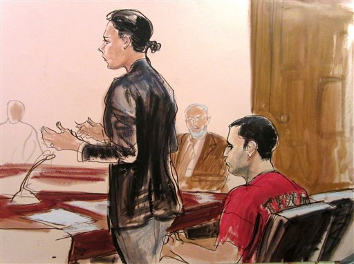 ©  In this Oct. 25, 2012, file courtroom drawing, Federal Defender Julie Gatto requests bail for her client, New York City Police Officer Gilberto Valle, right, at Manhattan Federal Court in New York.