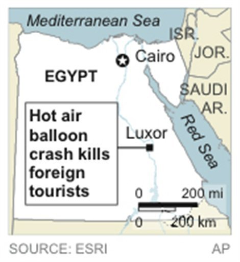 © Map locates Luxor, Egypt, where a hot air balloon crash killed foreign tourists.