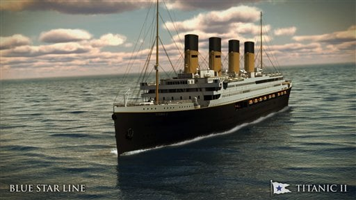 In this rendering provided by Blue Star Line, the Titanic II is shown cruising at sea. (AP)