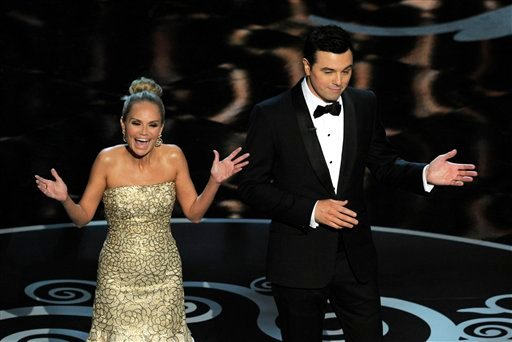 Host Seth MacFarlane, right, and actress Kristin Chenoweth perform a song dedicated to the &quot;losers&quot; during the finale of the Oscars at the Dolby Theatre on Sunday Feb. 24, 2013, in Los Angeles. (Photo by Chris Pizzello/Invision/AP)