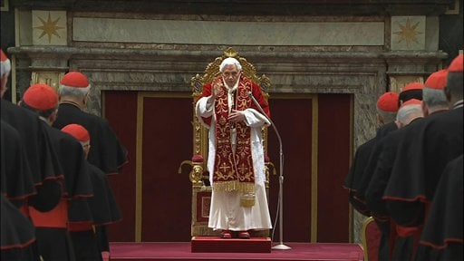 In this image taken from video as Pope Benedict XVI deliveres his final greetings to the assembly of cardinals at the Vatican Thursday Feb. 28, 2013, before he retires in just a few hours. (AP Photo/Vatican TV)