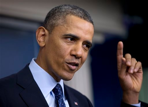 © President Barack Obama gestures as he speaks to reporters in the White House briefing room in Washington, Friday, March 1, 2013, following a meeting with congressional leaders regarding the automatic spending cuts. (AP Photo/Carolyn Kaster)