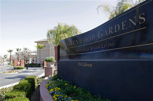 Shown is the main gate of Glenwood Gardens in Bakersfield, Calif., Monday March 4, 2013, where an elderly woman died after a nurse refused to perform CPR on her last week.