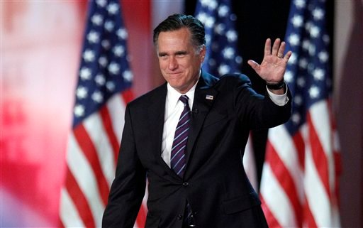 FILE - In this Nov. 7, 2012, file photo, Republican presidential candidate and former Massachusetts Gov. Mitt Romney waves to supporters at an election night rally in Boston, where he conceded the race to President Barack Obama. (AP)