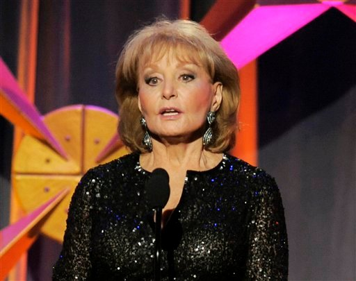 "FILE - This June 23, 2012 file photo shows Barbara Walters presenting an award onstage at the 39th Annual Daytime Emmy Awards in Beverly Hills, Calif. Walters returned to ""The View"" on Monday, March 4, 2013."