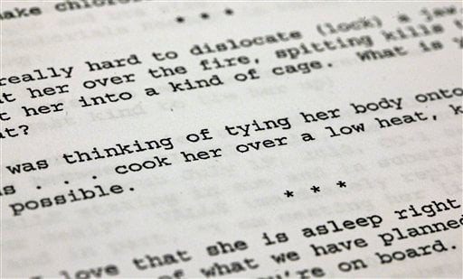 This Oct. 25, 2012, file photo shows a passage from Federal complaint filed in New York, Thursday, Oct. 25, 2012, against Gilberto Valle, a New York City police officer charged with plotting to kidnap, cook and eat women.  (AP Photo/Richard Drew, File)