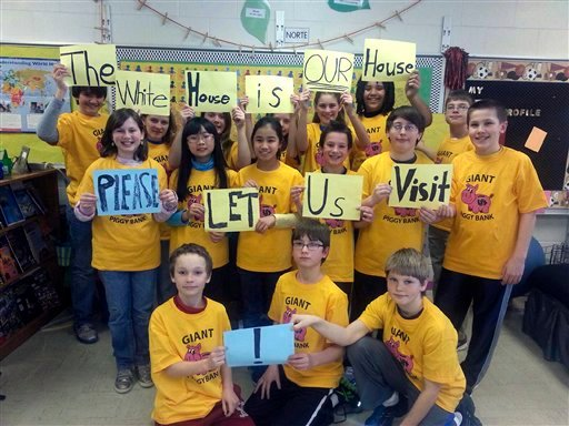 6th grade students at St. Paul's Lutheran School in Waverly, Iowa, pose for a photo on March 6, 2013. (AP)