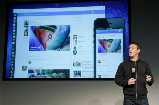 Facebook CEO Mark Zuckerberg speaks at Facebook headquarters in Menlo Park, Calif., Thursday, March 7, 2013. (AP Photo/Jeff Chiu)