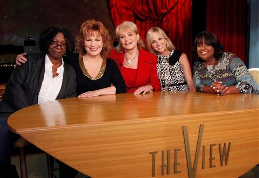 "?  In this Sept. 7, 2010 TV publicity file image released by ABC, from left, Whoopi Goldberg, Joy Behar, Barbara Walters, Elizabeth Hasselbeck and Sherri Shepherd pose on the set of their daytime talk show, ""The View,"" as they launch their 14th season."