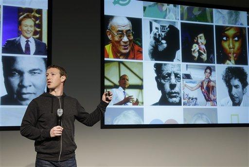 © Facebook CEO Mark Zuckerberg speaks at Facebook headquarters in Menlo Park, Calif., Thursday, March 7, 2013.