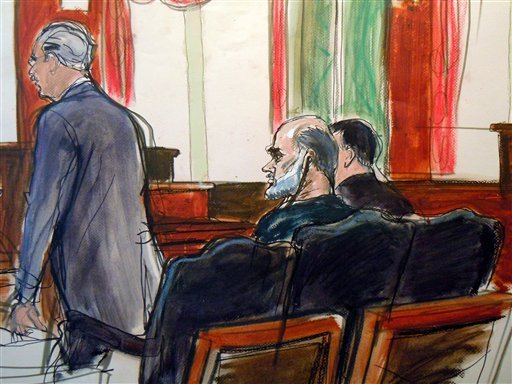 In this courtroom sketch, Osama bin Laden's son-in-law, Sulaiman Abu Ghaith, center, listens as court-appointed federal defender Philip Weinstein, left, speaks in U.S. Federal court Friday, March 8, 2013, in New York. (AP)