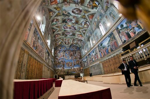? A view of the Sistine Chapel, at the Vatican, Saturday, March 9, 2013.